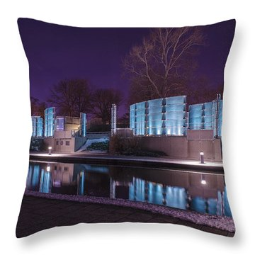 Indianapolis Canal Walk Medal Of Honor Memorial Night Lights Throw Pillow by David Haskett