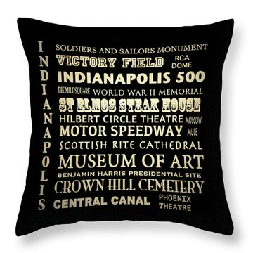 Indianapolis Famous Landmarks Throw Pillow