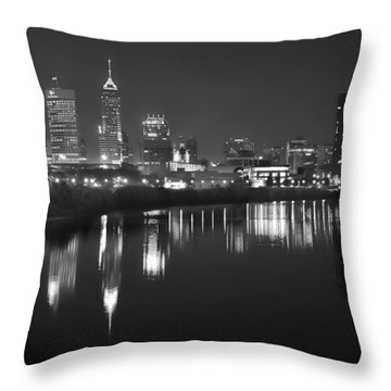 Indianapolis Skyline At Night Indy Downtown Black And White Bw Panorama Throw Pillow by Jon Holiday
