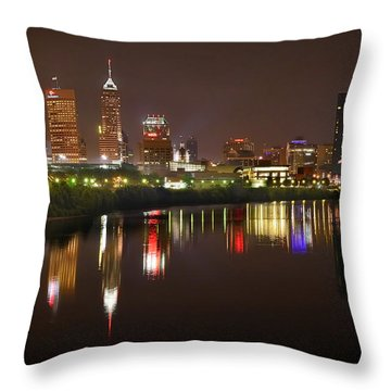 Indianapolis Skyline At Night Indy Downtown Color Panorama Throw Pillow by Jon Holiday