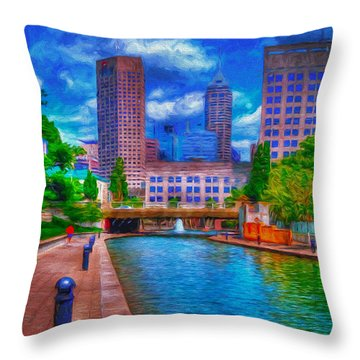 Indianapolis Skyline Canal View Digitally Painted Blue Throw Pillow by David Haskett