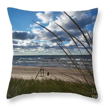 Indiana Dunes' Lake Michigan Throw Pillow by Pamela Clements