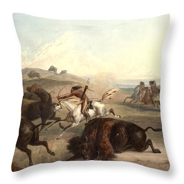 Indians Hunting The Bison Throw Pillow by Karl Bodmer