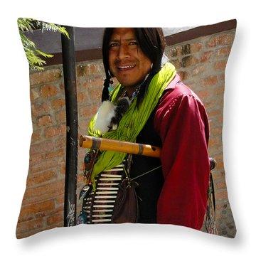 Indigenous Flute Player Throw Pillow by Al Bourassa