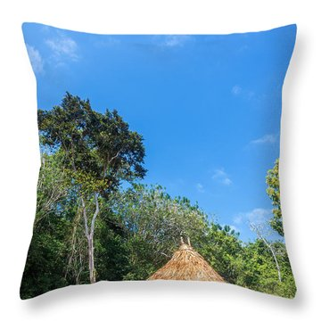 Indigenous Hut Throw Pillow by Jess Kraft