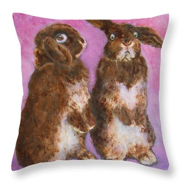 Indignant Bunny And Friend Throw Pillow