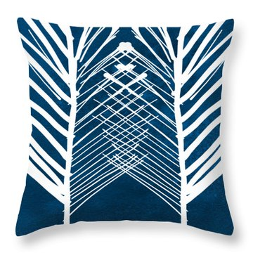 Indigo And White Leaves- Abstract Art Throw Pillow by Linda Woods