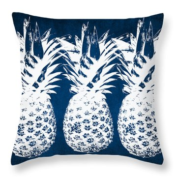 Indigo And White Pineapples Throw Pillow by Linda Woods