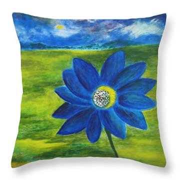 Indigo Blue - Sunflower Throw Pillow