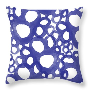 Indigo Bubbles- Contemporary Absrtract Watercolor Throw Pillow by Linda Woods