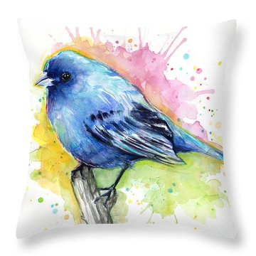 Indigo Bunting Blue Bird Watercolor Throw Pillow