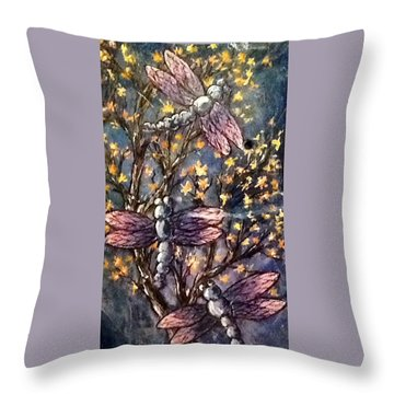 Throw Pillow featuring the painting Indigo Dragons by Megan Walsh