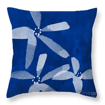 Indigo Flowers Throw Pillow by Linda Woods