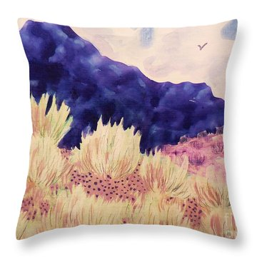 Throw Pillow featuring the painting Indigo Mountain by Suzanne McKay