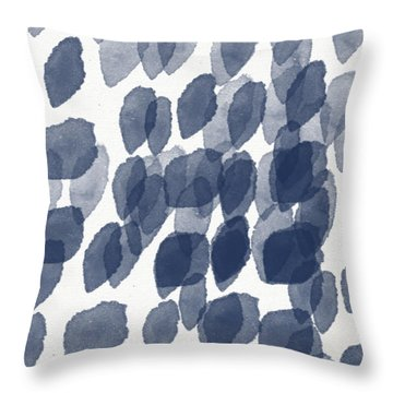 Indigo Rain- Abstract Blue And White Painting Throw Pillow