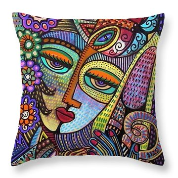 Indigo Tapastry Royal Cats Throw Pillow by Sandra Silberzweig