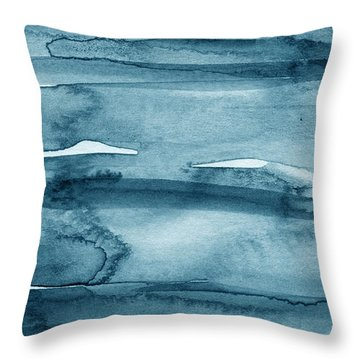 Indigo Water- Abstract Painting Throw Pillow