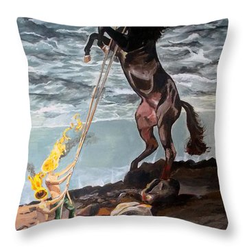 Throw Pillow featuring the painting Indomitable Listen With Music Of The Description Box by Lazaro Hurtado
