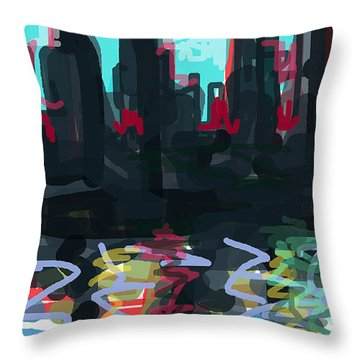 Industrial City On A River  Throw Pillow by Paul Sutcliffe