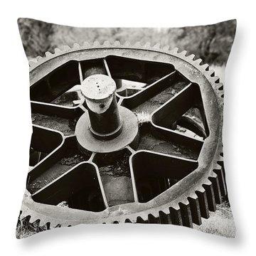 Industrial Gear Throw Pillow by Scott Pellegrin