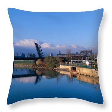 Industrial Landscape Along Rogue River Throw Pillow