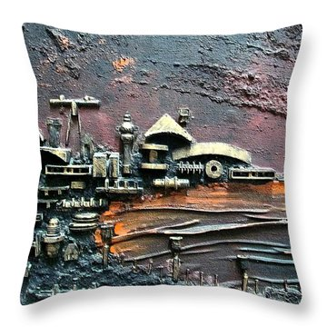 Industrial Port-part 1 By Rafi Talby Throw Pillow by Rafi Talby