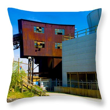 Industrial Power Plant Architectural Landscape Throw Pillow
