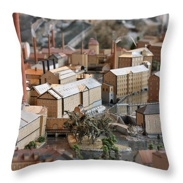 Industrial Town Miniature Model Throw Pillow