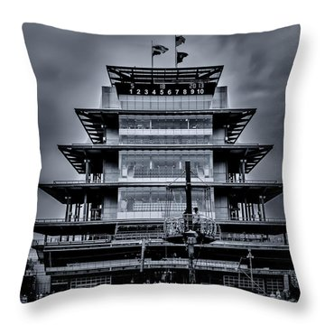 Indy 500 Pagoda - Black And White Throw Pillow