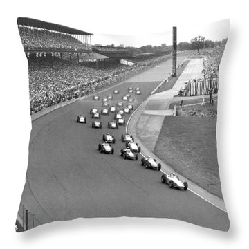 Indy 500 Race Start Throw Pillow