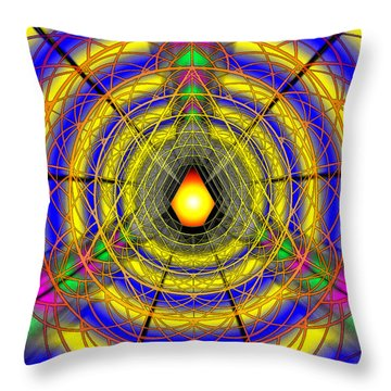 Throw Pillow featuring the drawing Infinity Gateway Nine by Derek Gedney