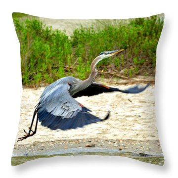 Inflight Great Blue Heron Throw Pillow by Sandi OReilly