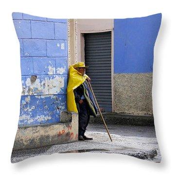 Information Man In Penipe Ecuador Throw Pillow by Al Bourassa