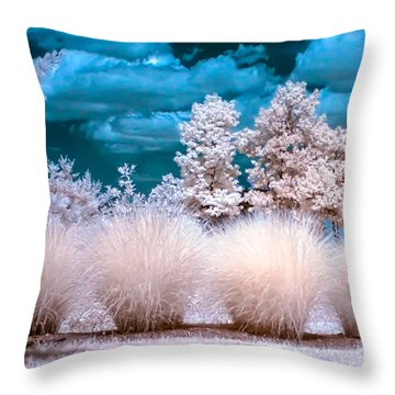 Infrared Bushes Throw Pillow