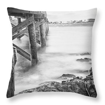 Throw Pillow featuring the photograph Infrared View Of Stormy Waves At Stramsky Wharf by Jeff Folger