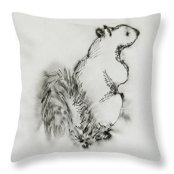 Ink Squirrel Throw Pillow