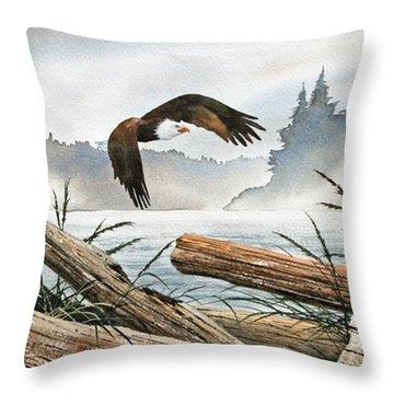 Inland Sea Eagle Throw Pillow by James Williamson