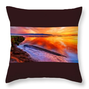 Throw Pillow featuring the painting Inlet Sunset by Bruce Nutting