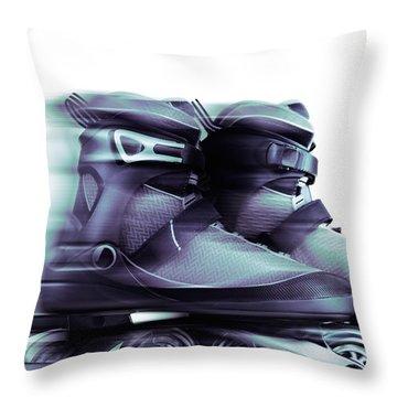 Inline Skates Rollerblades Artistic Dynamic Still Ife Throw Pillow by Oleksiy Maksymenko