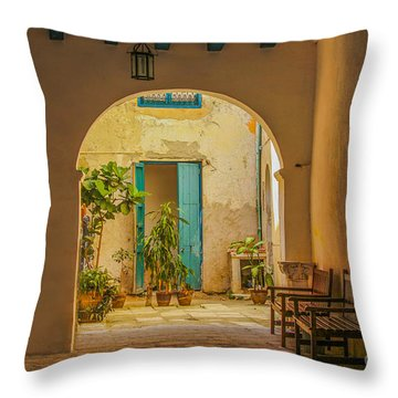 Inner Courtyard In Caribbean House Throw Pillow