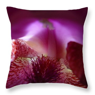 Throw Pillow featuring the photograph Inner Iris_4of4_purple by Jana Russon