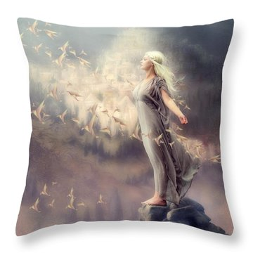 Inner Peace Throw Pillow by Cindy Grundsten