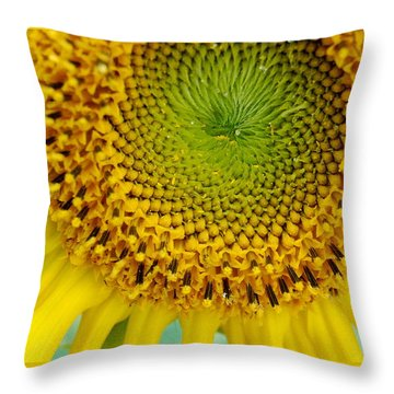Inner Peace Forms Within This Sweet Yellow Sunflower Throw Pillow by Eunice Miller