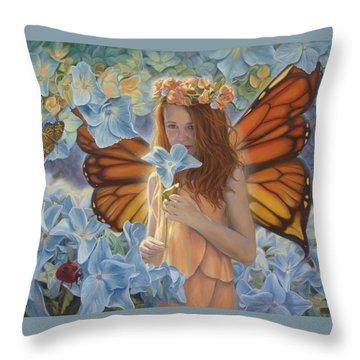 Innocence Throw Pillow by Lucie Bilodeau