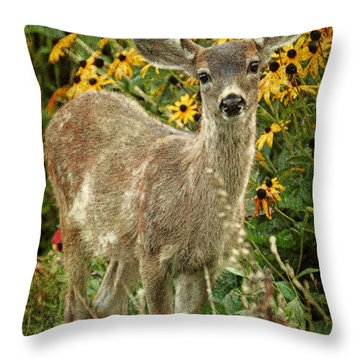 Throw Pillow featuring the photograph Innocent Fawn And Flowers by Peggy Collins