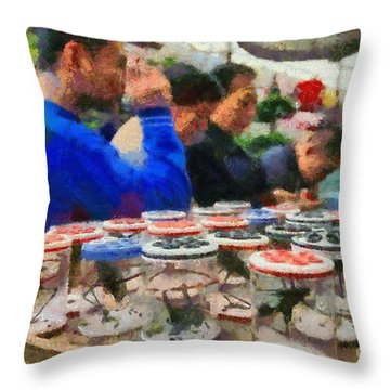 Insect Market In Shanghai Throw Pillow by George Atsametakis
