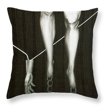 Throw Pillow featuring the painting Insecurity by Fei A