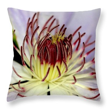 Inside A Clematis Throw Pillow