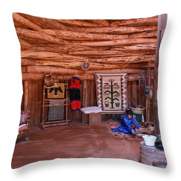 Inside A Navajo Home Throw Pillow by Diane Bohna