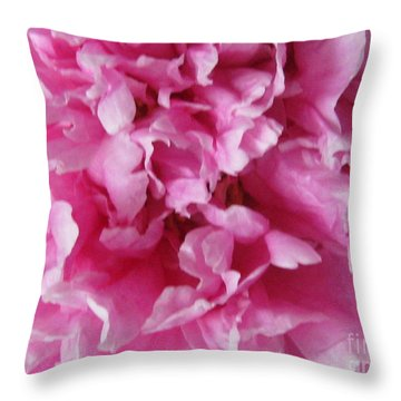 Throw Pillow featuring the photograph Inside A Pink Peony by Margaret Newcomb